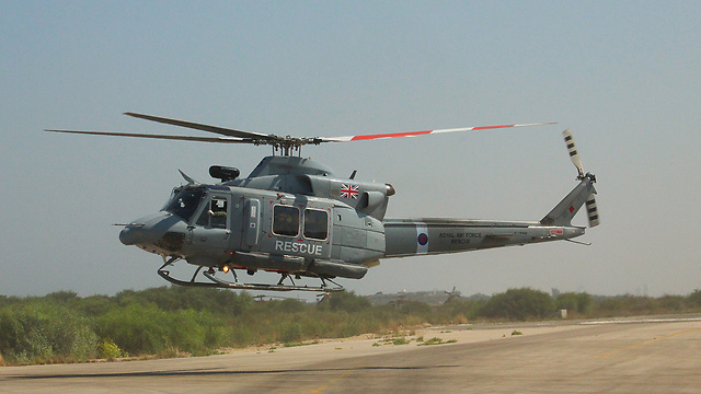 A British helicopter during Wednesday's U.K.-Israel emergency drill. Credit: IDF Spokesperson's Unit.