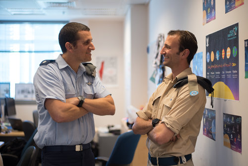 Maj. Omer Yuval (left), founder of the Israeli Air Force's Innovation Department, with Sgt. Ilan Regenbaum. Credit: IDF.