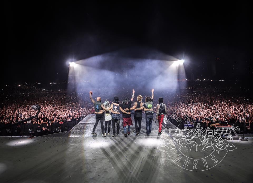 Guns N' Roses band members wave to attendees of their concert in Tel Aviv Saturday night. Credit:Guns N' Roses Facebook page.