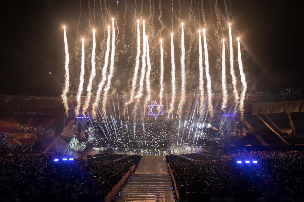 Fireworks at the opening ceremony of the 20th Maccabiah Games in Jerusalem, July 6, 2017. Credit: Yonatan Sindel/Flash90.