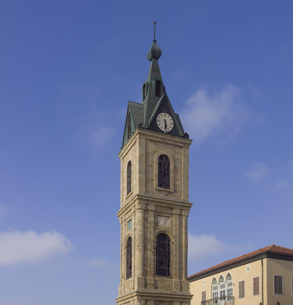 The iconic clock tower in Jaffa. Credit: Andrew Shiva via Wikimedia Commons.