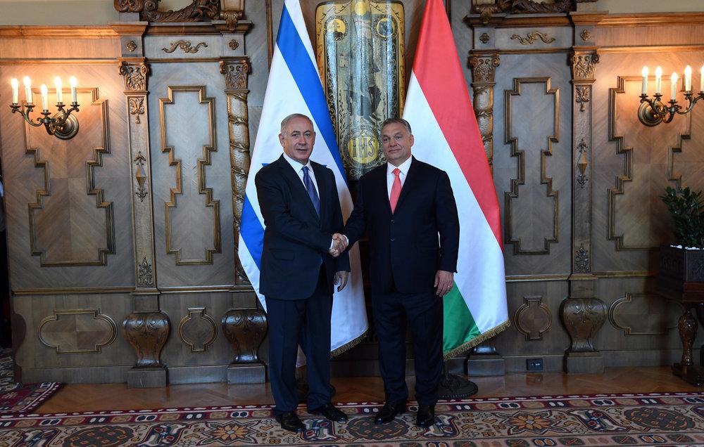 Israeli Prime Minister Benjamin Netanyahu (left) with Hungary's Prime Minister Viktor Orban at the Hungarian Parliament Tuesday. Credit: Haim Zach/GPO.
