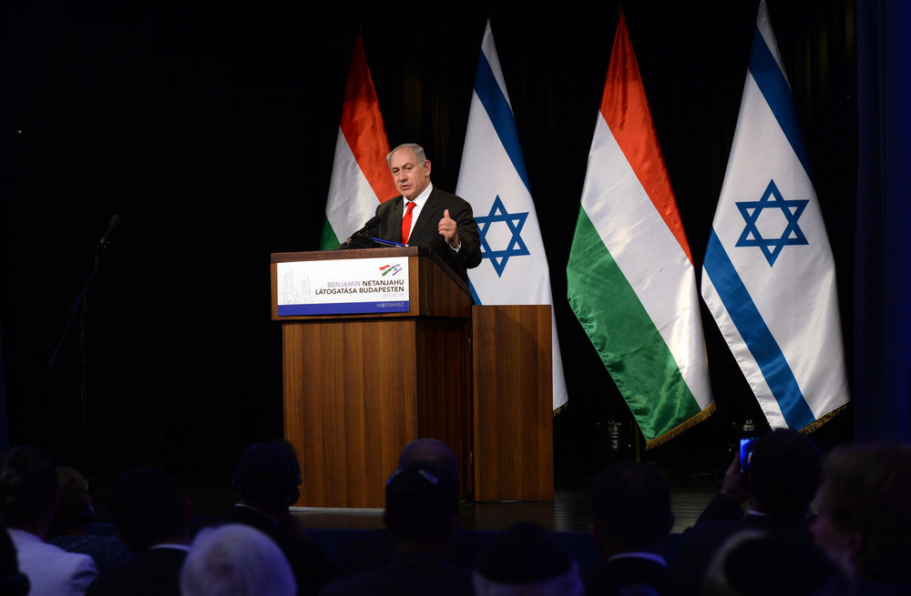 Israeli Prime Minister Benjamin Netanyahu speaks in Hungary this month. Credit: Haim Zach/GPO.
