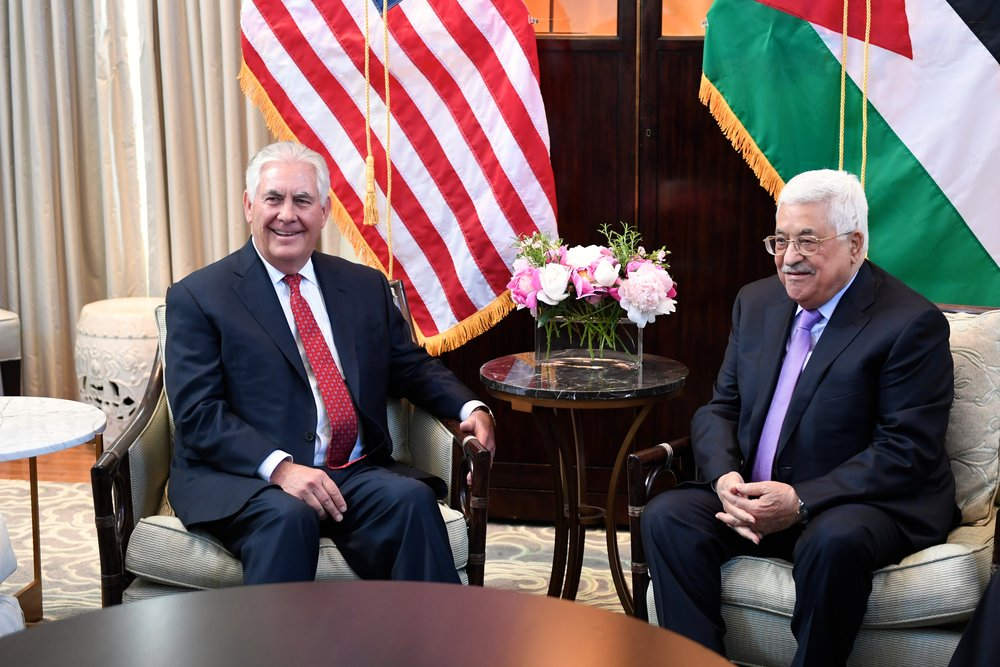 Secretary of State Rex Tillerson (left) meets with Palestinian Authority President Mahmoud Abbas in Washington, D.C., May 3, 2017. Credit: State Department.