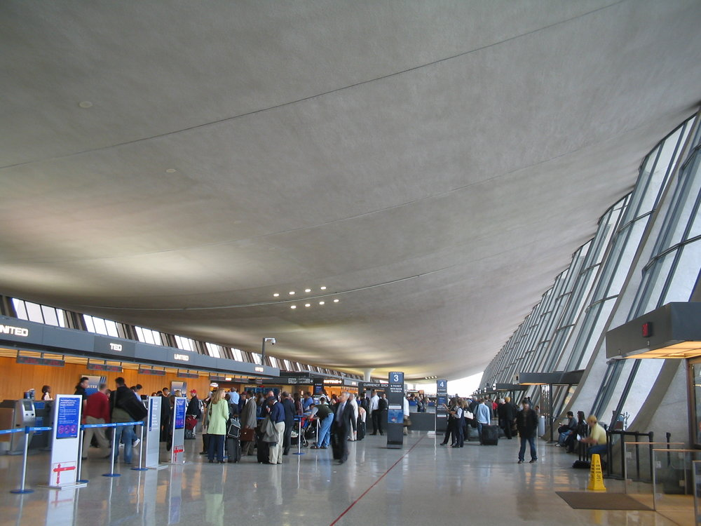 The main terminal at Washington Dulles International Airport, where anti-Israel BDS movement activists were prevented Monday from boarding a flight to Israel's Ben Gurion Airport. Credit: Wikimedia Commons.