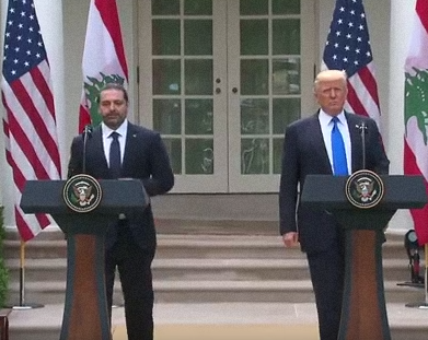 President Donald Trump and Lebanese Prime Minister Saad al-Hariri (left) at the White House Tuesday. Credit: YouTube.