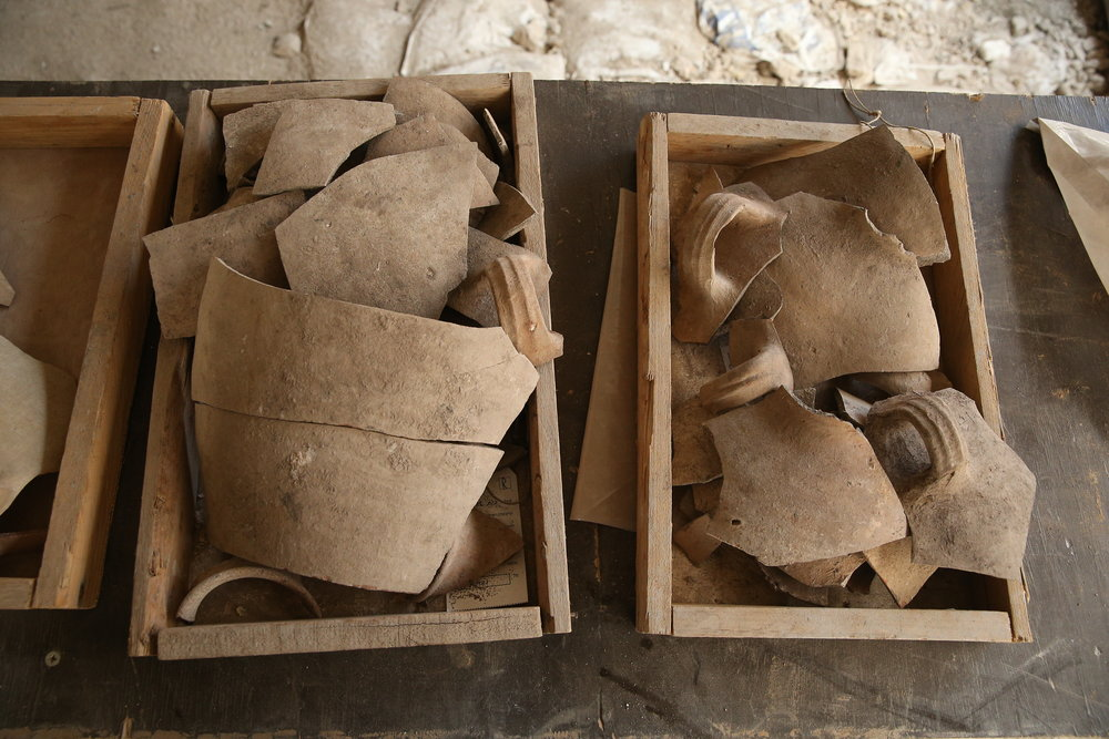 Newly discovered shattered jugs that the Israel Antiquities Authority says attest to the destruction of Jerusalem by the Babylonians. Credit: Eliyahu Yanai, courtesy of the City of David Archive.