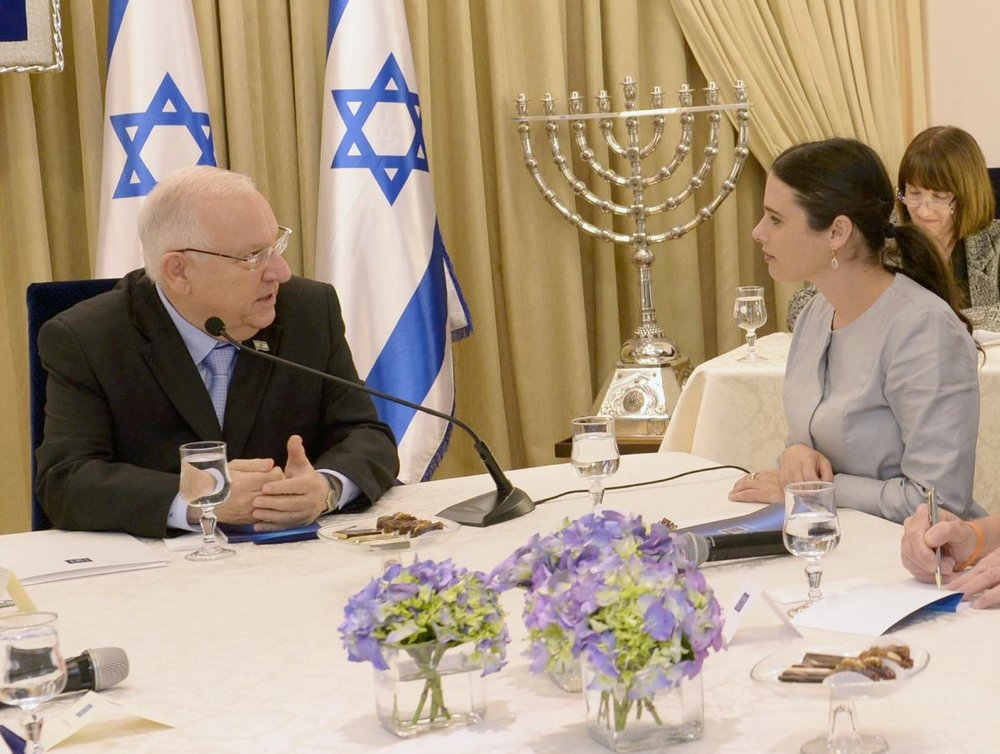 Israeli Justice Minister Ayelet Shaked (right) with Israeli President Reuven Rivlin. Credit: Mark Neiman/GPO.