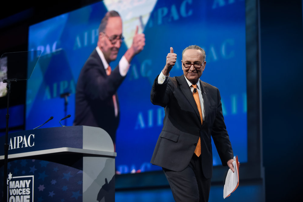 "Sen. Chuck Schumer (D-N.Y.), pictured here at the 2017 AIPAC Policy Conference, said the evidence gathered on the Go Palestine summer camp's anti-Israel activities is ""disturbing"" and that USAID ""must immediately investigate it."" Credit: AIPAC."