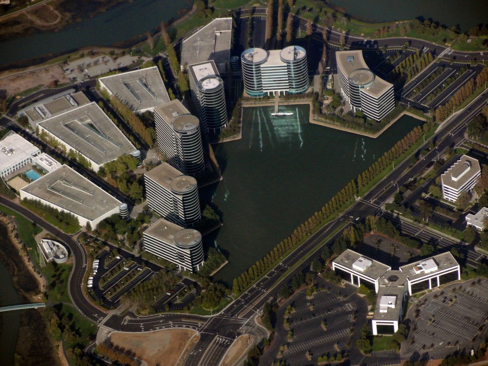 An aerial view of Oracle headquarters in California. Credit: Rehman Abubakr via Wikimedia Commons.