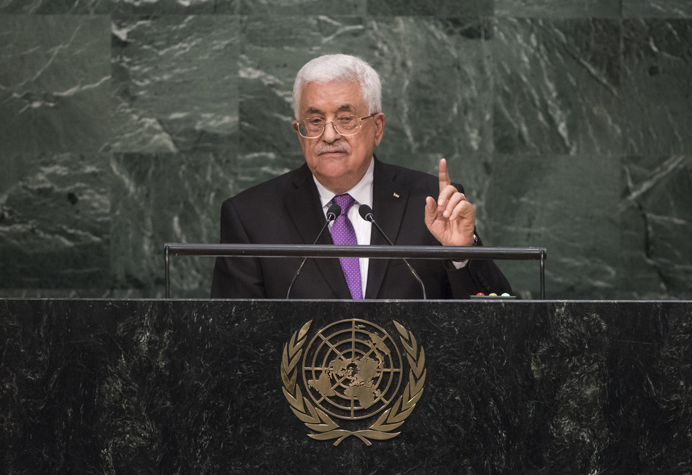 Palestinian Authority President Mahmoud Abbas addresses the United Nations General Assembly in September 2015. Credit: U.N. Photo/Cia Pak.