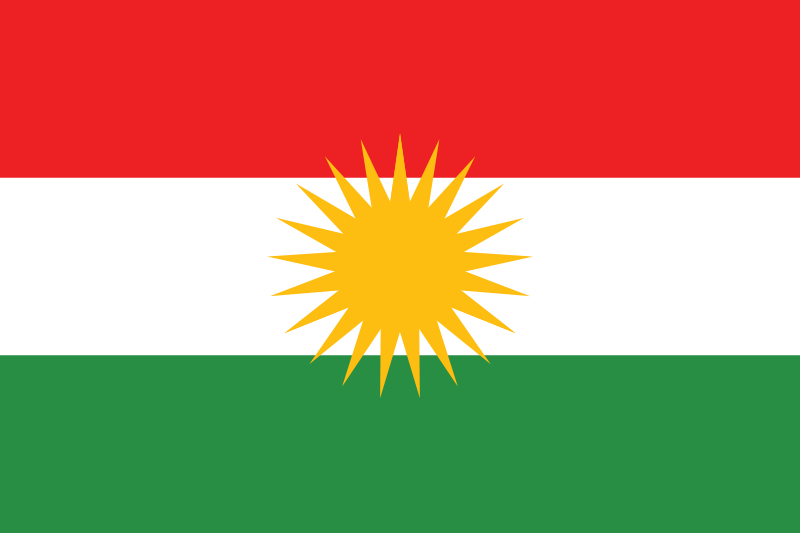 The Kurdish flag. Credit: Wikimedia Commons.