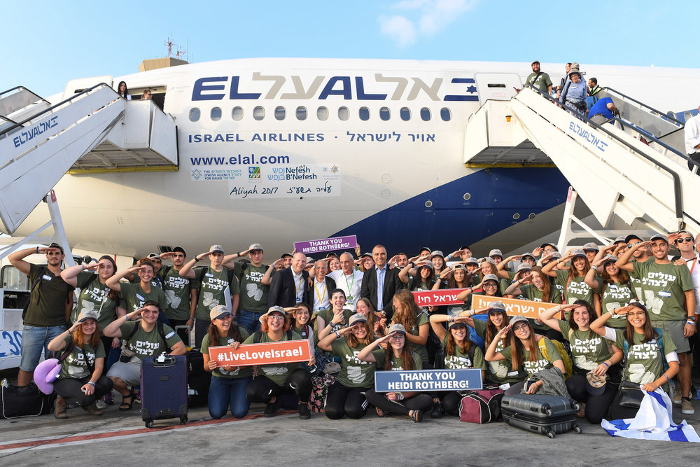Future IDF soldiers are pictured upon their arrival in Israel Aug. 15 on a flight chartered by the Nefesh B'Nefesh aliyah agency. Credit: Shahar Azran.