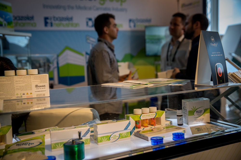 A booth at Israel's annual CannaTech medical marijuana innovation conference in Tel Aviv, March 20, 2017. Credit: Miriam Alster/Flash90.
