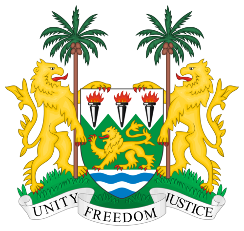 Sierra Leone's coat of arms. Credit: Wikimedia Commons.