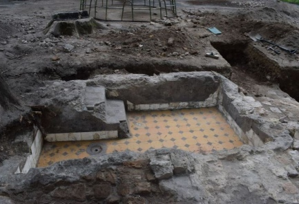 Remains of a newly excavated mikvah that was used by congregants at the former Great Synagogue in Vilna. Credit: Israel Antiquities Authority.