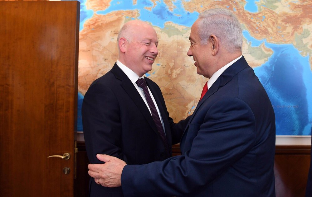 President Donald Trump's international negotiations representative, Jason Greenblatt (left), meets with Israeli Prime Minister Benjamin Netanyahu in July. Credit: Twitter.