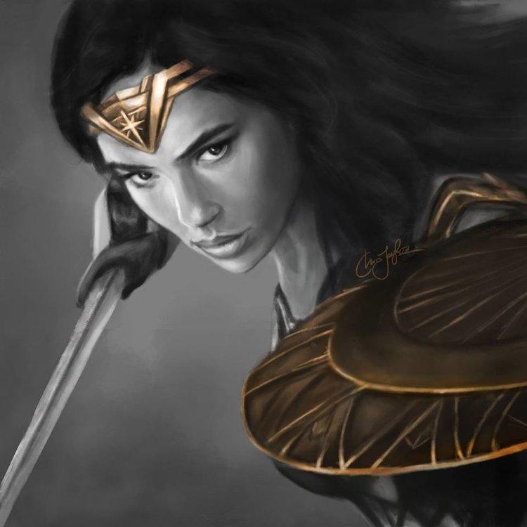 "A ""Wonder Woman"" film poster, featuring Israeli actress Gal Gadot. Credit: Facebook."