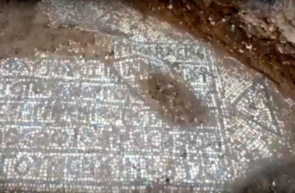 The rare Byzantine-era Christian mosaic that was discovered near Jerusalem's Old City. Credit: Israel Antiquities Authority via YouTube.
