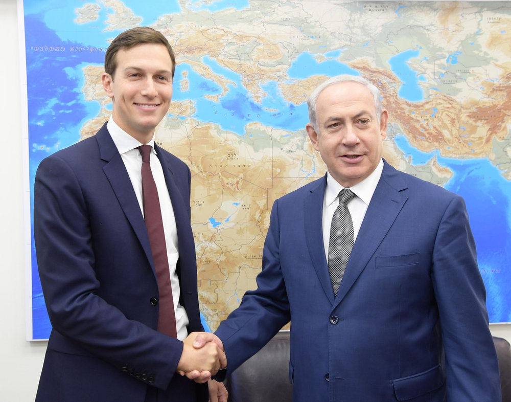 Presidential adviser Jared Kushner (left) and Israeli Prime Minister Benjamin Netanyahu meet Thursday.Credit:Amos Ben-Gershom/GPO.