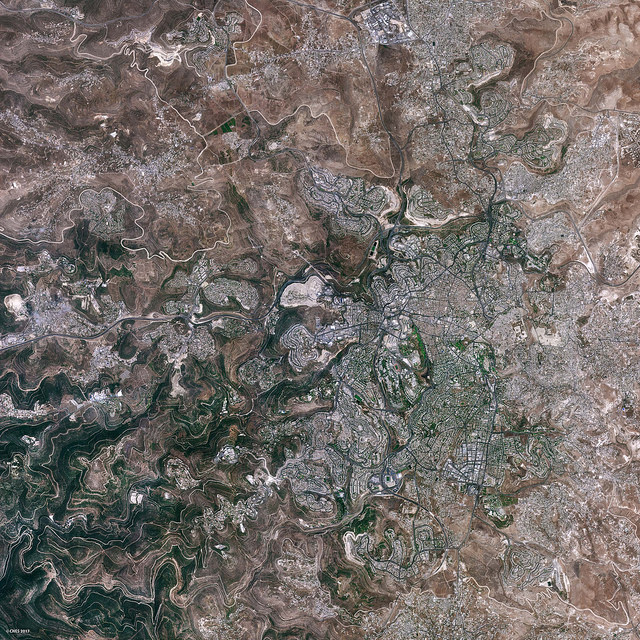 Jerusalem, as seen from outer space via the Venus research satellite. Credit: Venus satellite.