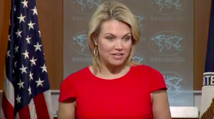 A screenshot of State Department spokeswoman Heather Nauert at the Aug. 24 briefing. Credit: U.S. State Dept. via Flickr.