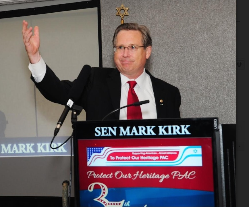 Former Sen. Mark S. Kirk addresses the crowd Aug. 27 at the Northbrook Hilton outside of Chicago. Credit: DejaViewsUSA.com