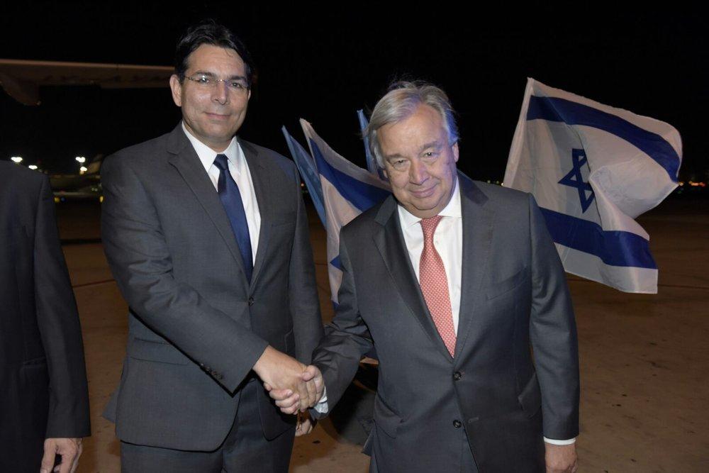 Israel's Ambassador to the United Nations Danny Danon (left) and U.N. Secretary-General Antonio Guterres in Israel earlier this week. Credit: Shalom Amsalem.