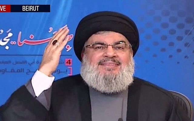 Hezbollah leader Hassan Nasrallah delivering his speech Thursday. Credit: Screenshot.