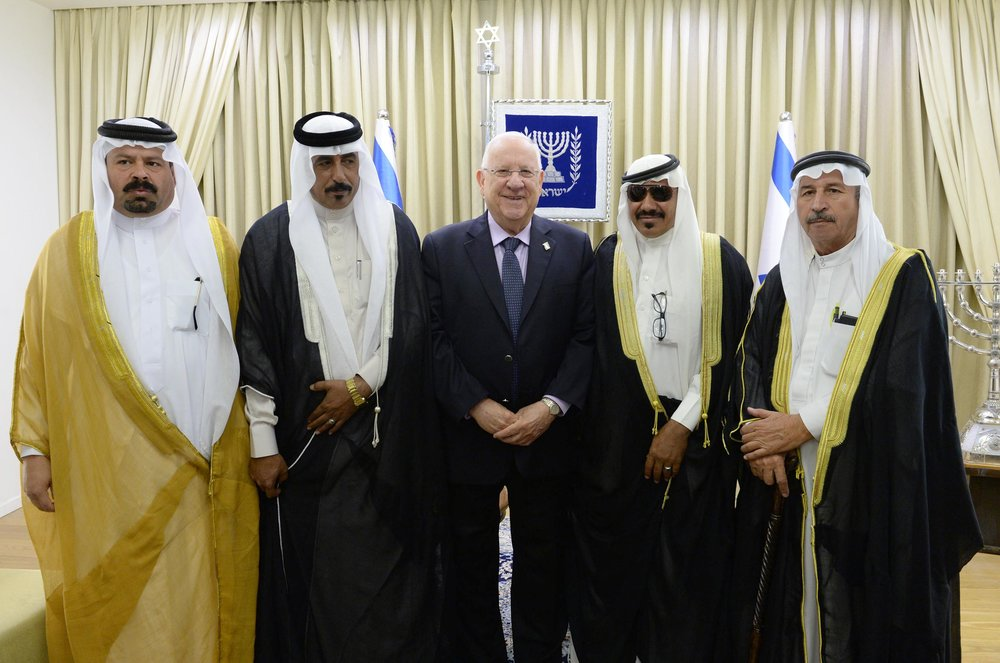 In Jerusalem, Israeli President Reuven Rivlin meets with group of sheikhs visiting from Jordan, May 17, 2017. Credit: Mark Neiman/GPO.