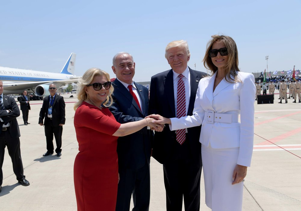 Sara Netanyahu (left) and Prime Minister Benjamin Netanyahu with President Donald Trump and Melania Trump in May. Credit:Avi Ohayon/GPO.