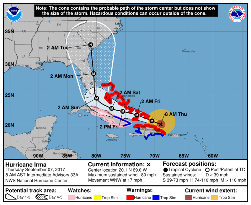 A forecast map for Hurricane Irma as of Thursday morning. Credit:National Hurricane Center.