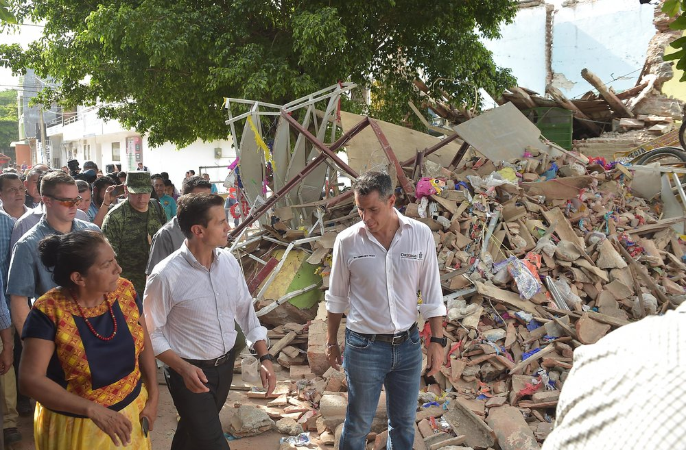Damage in the Mexican state of Oaxaca following a recent 8.2-magnitude earthquake, which was the strongest quake to hit Mexico in a century. Credit: Presidencia de la República Mexicana via Wikimedia Commons.