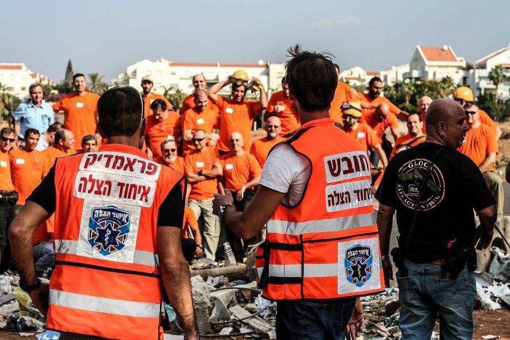 Members of United Hatzalah and the IRC train for disaster response scenarios in Israel. Credit: United Hatzalah.