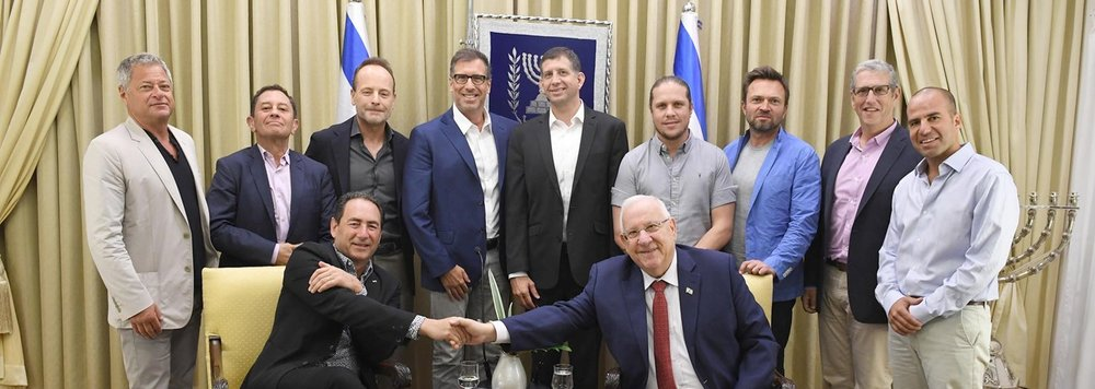 Israeli President Reuven Rivlin meets with Hollywood producers and executives in Jerusalem Sept. 11. Credit: Mark Neiman/GPO.