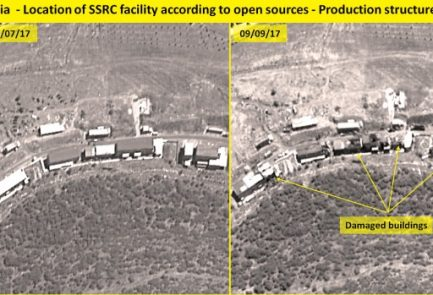 Side-by-side images show the Syrian facility before and after last week's airstrike. Credit: ImageSat International.