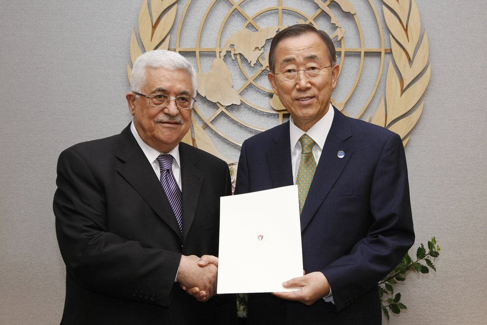 Palestinian President Mahmoud Abbas (left) with former U.N. Secretary-General Ban Ki-moon at the U.N. Sept. 23, 2011. Credit: UN Photo/Paulo Filgueiras.