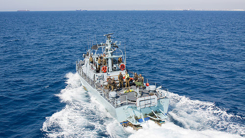 An Israeli-British naval drill in the Mediterranean Sea in July. Credit: IDF Spokesperson's Unit.