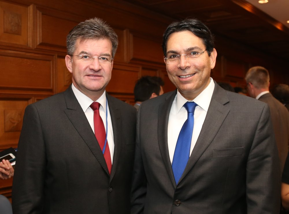 Israeli Amb. to the U.N. Danny Danon (right) and President of the General Assembly Miroslav Lajcak. Credit: UN Photo.
