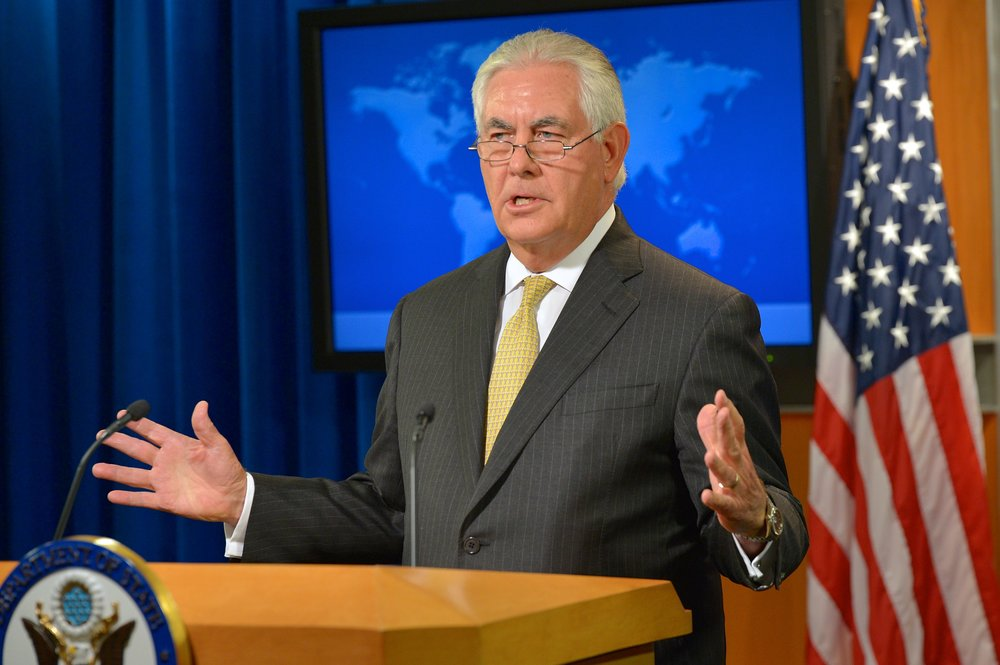 U.S. Secretary of State Rex Tillerson at a press briefing in Washington, D.C. in Aug. Credit: U.S. State Department via flickr.