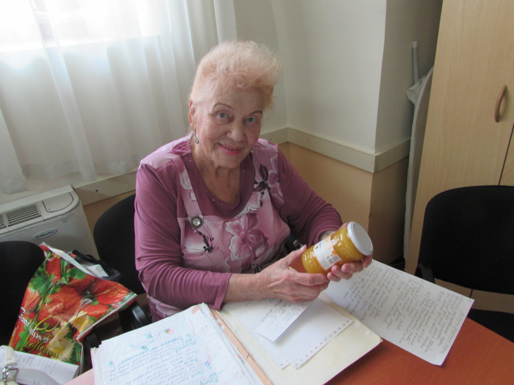 Svetlana D. of Kishinev, Moldova, is one of thousands of elderly Jews in the former Soviet Union that will receive apples and honey and extra food during Rosh Hashanah, the Jewish New Year,this year. Credit: JDC.