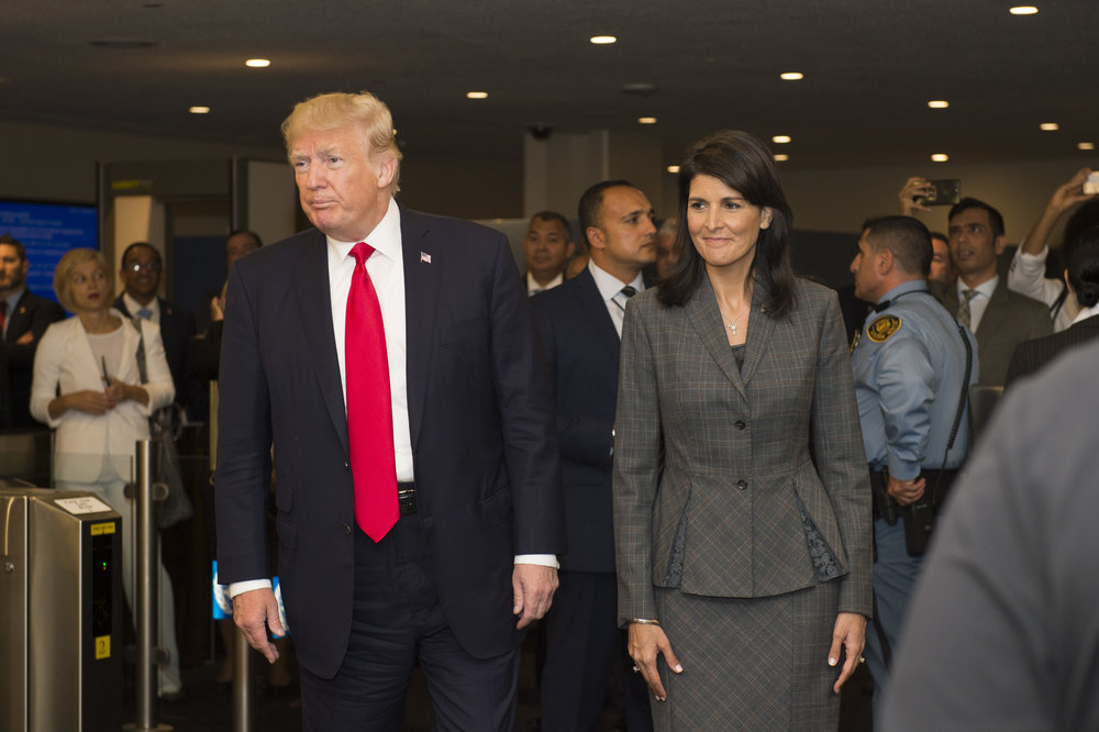 President Donald Trump arrives at the U.N. in New York with American Ambassador to the U.N. Nikki Haley, Sept. 18. Credit: UN Photo/Rick Bajornas.