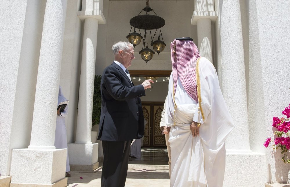 U.S. Secretary of Defense James Mattis (left) meets with Qatar's Emir Sheikh Tamim bin Hamad Al Thani at the Sea Palace in Doha, April 22. Credit: U.S. Air Force Tech. Sgt. Brigitte N. Brantley/Department of Defense.