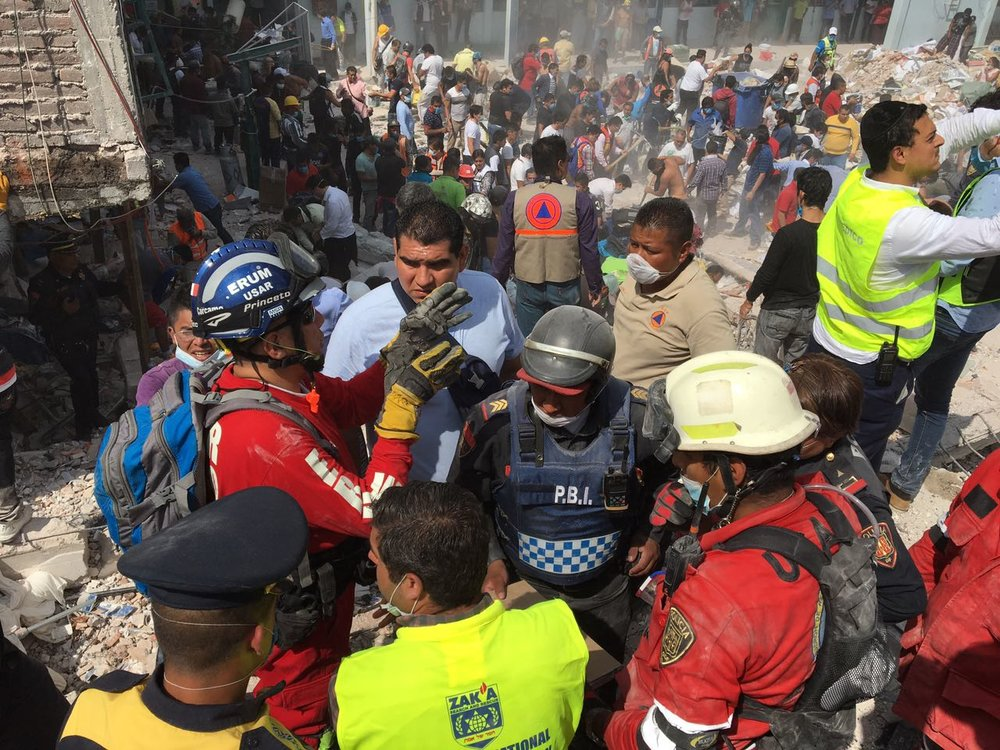 ZAKA International Rescue workers helping in the Mexico City area following the Sept. 19 earthquake. Credit: ZAKA