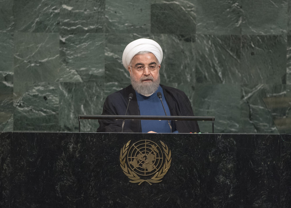 Iranian President Hassan Rouhani speaks at the United Nations General Assembly's 72nd session Sept. 20. Credit: UN Photo/Cia Pak.