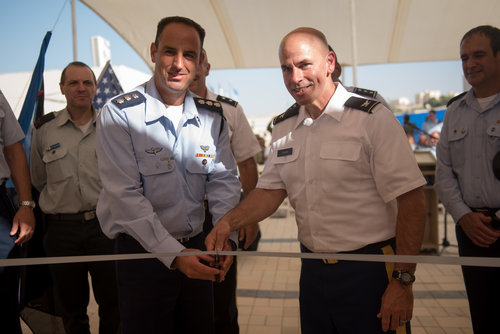 A ribbon-cutting ceremony for the first-ever permanent U.S. military base inside an Israeli Air Force base. (left) Maj. Gen. Josh Gronski, deputy commanding general for the U.S. Army National Guard, and Brig. Gen. Zvika Haimovich, commander of the IAF's Aerial Defense Division. Credit: IDFblog.com.