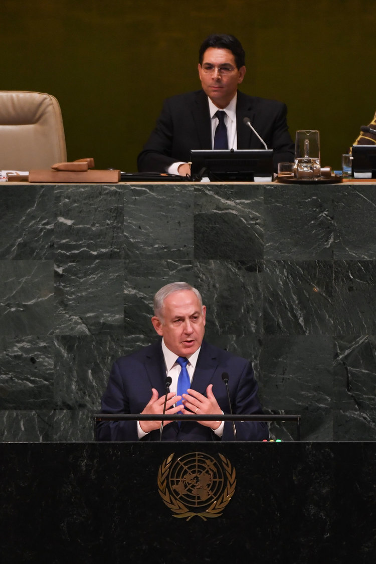 Israeli Prime Minister Benjamin Netanyahu addressing the U.N. last week where he urged the world body to 'fix or nix' the Iranian nuclear agreement. Credit:Shahar Azran.