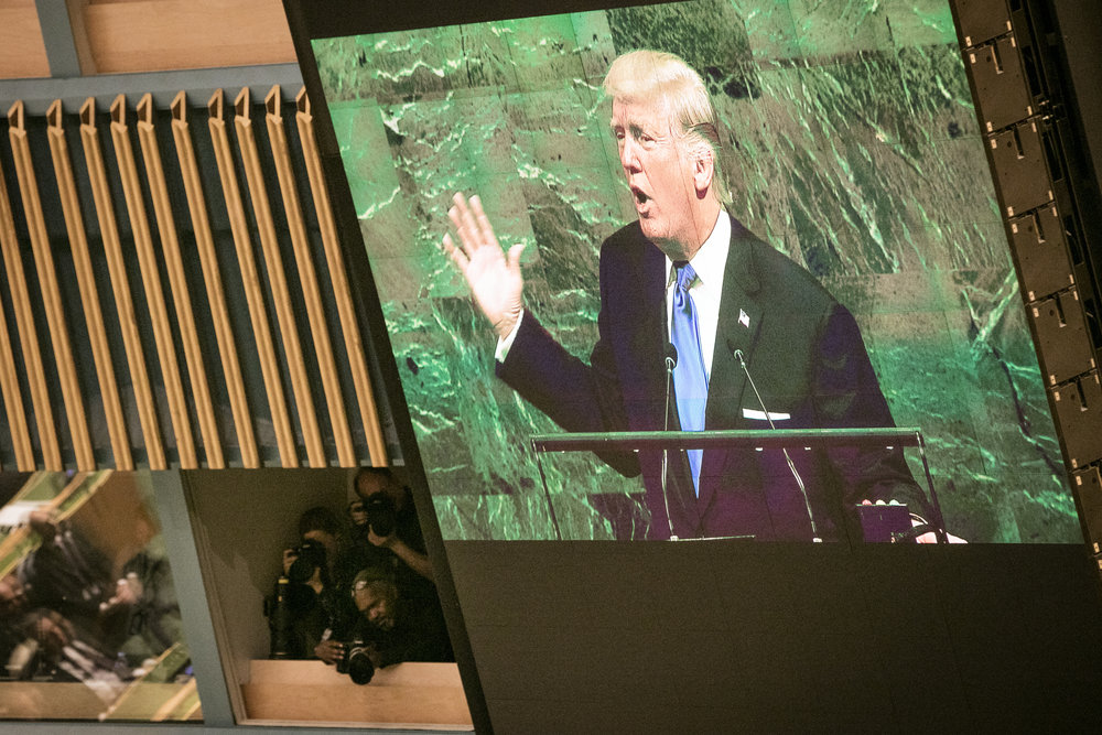 President Donald Trump addresses the United Nations General Assembly Sept. 19 as photographers capture the moment. Credit: U.N. Photo/Ariana Lindquist.