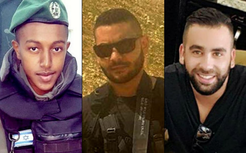 From left to right, Har Adar terror attack victims Solomon Gavriyah, Yosef Ottman and Or Arish. Credit: Courtesy.