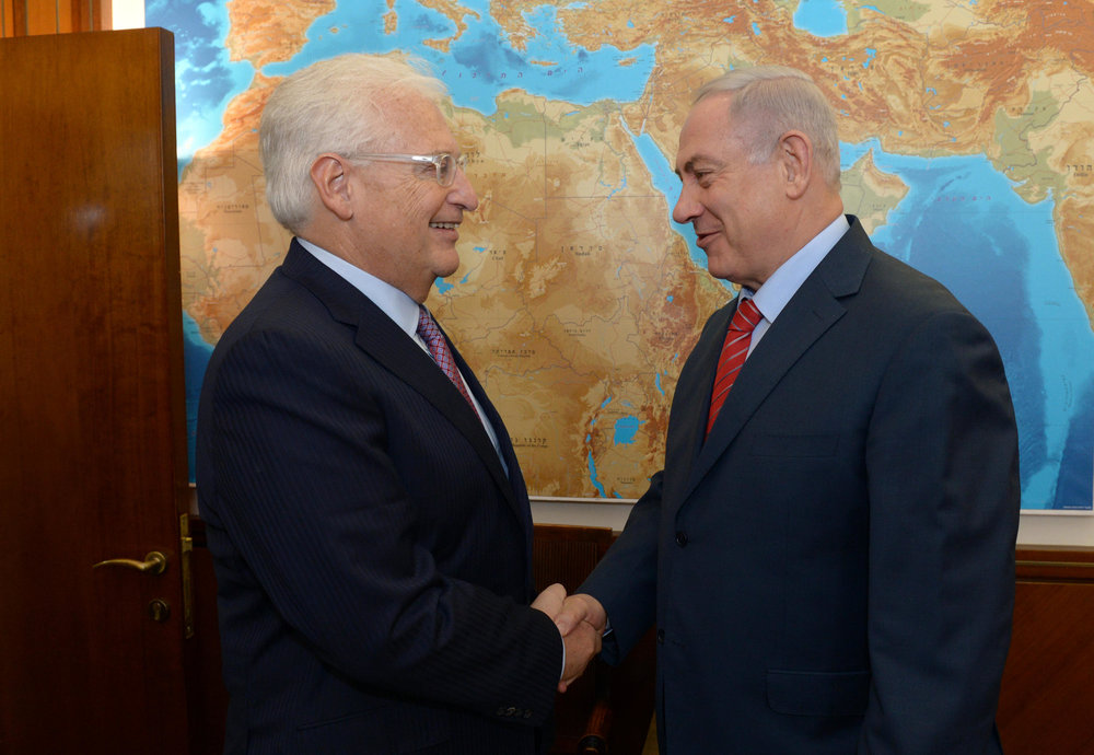 Israeli Prime Minister Benjamin Netanyahu (right) meets with U.S. Ambassador to Israel David Friedman in Jerusalem earlier this year. Credit: GPO.